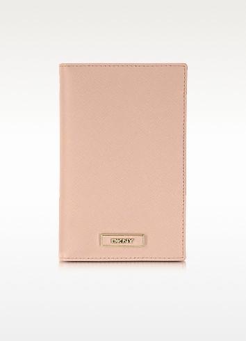 Powder Pink Saffiano Leather Wallet/Passport Holder - DKNY