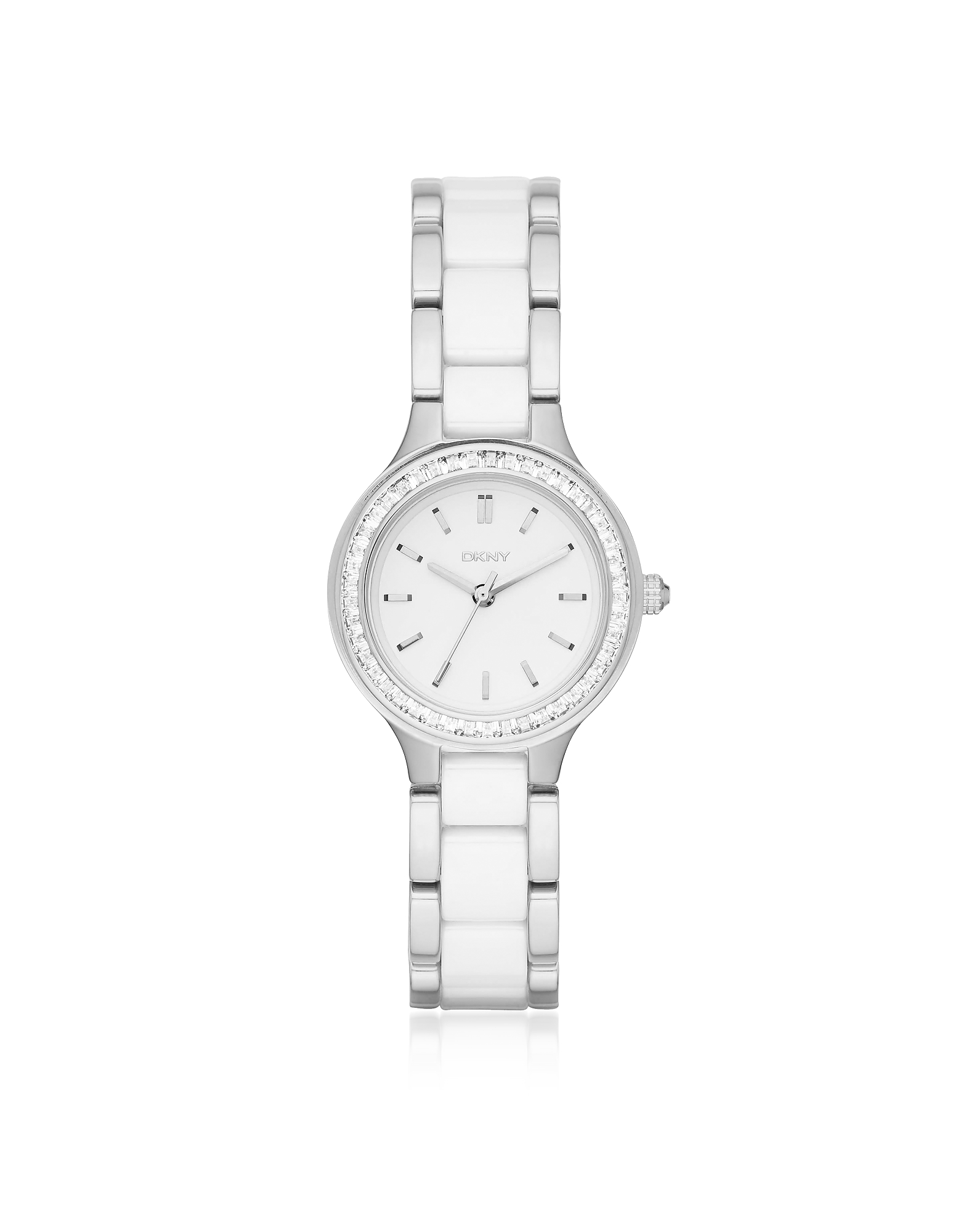 Chambers Silver and White Ceramic Women's Watch