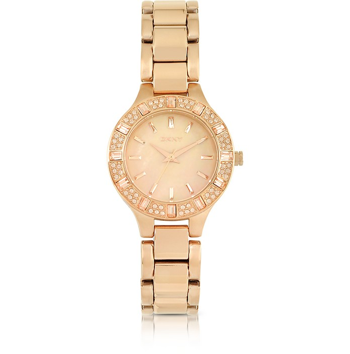 Chambers Rose Golden Stainless Steel with Crystals Women's Watch - DKNY