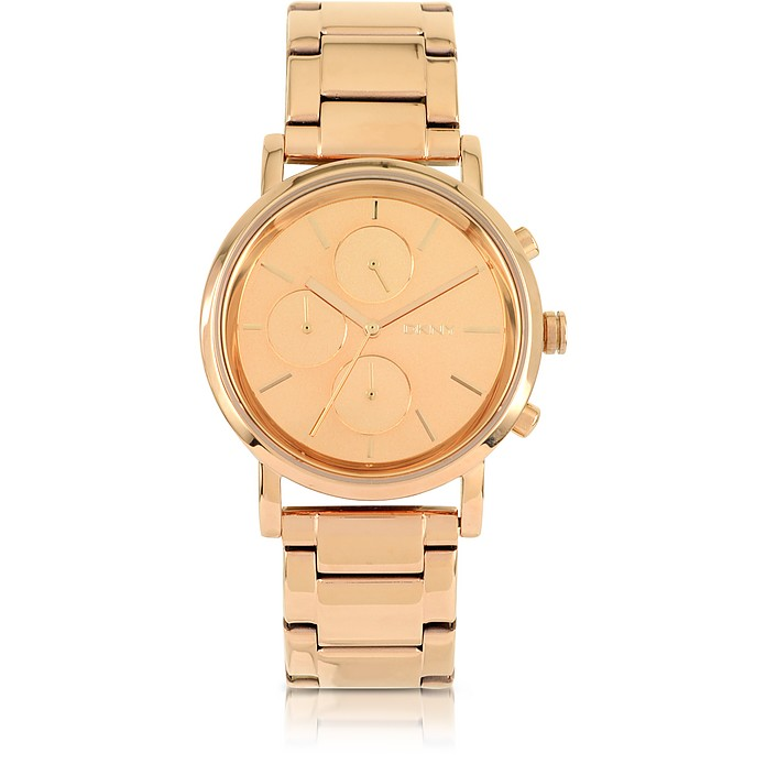 Soho Rose Golden Stainless Steel Chronograph Women's Watch - DKNY