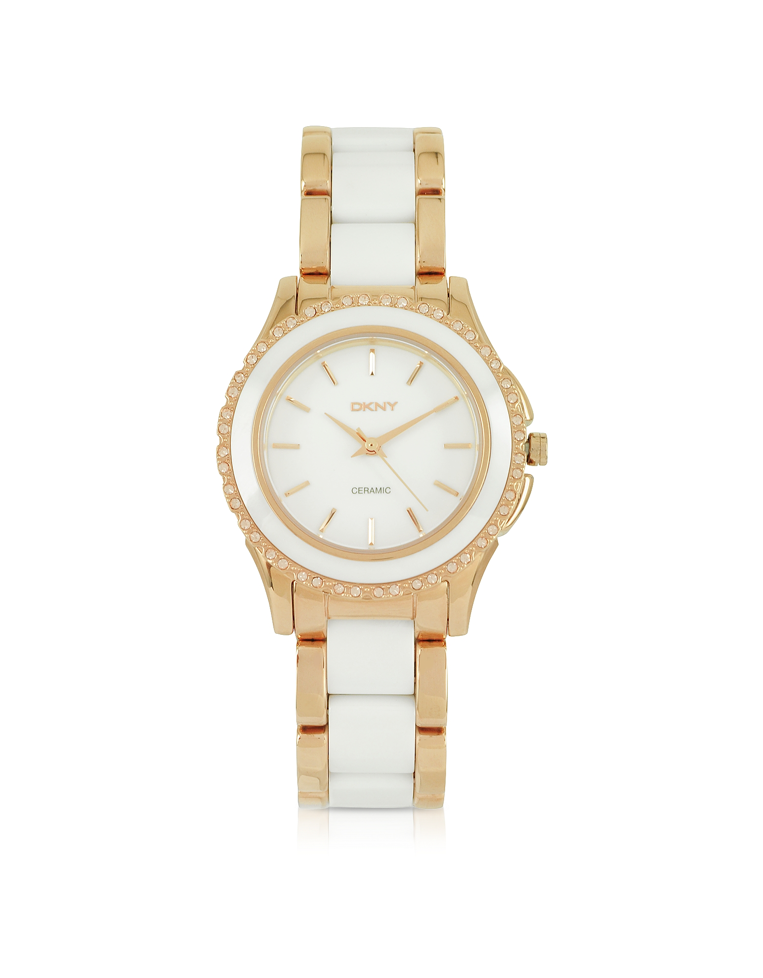 Brooklyn - Женские Часы из Белой Керамики и Нержавеющей Стали с Напылением Розового Золота