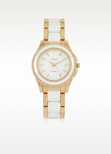 Brooklyn White Ceramic and Rose Golden Stainless Steel Women's Watch - DKNY