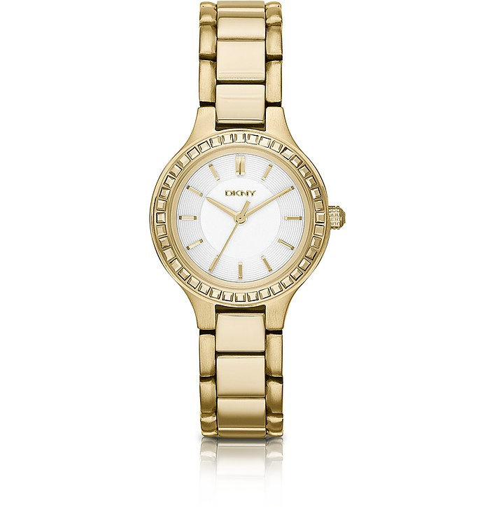 Chambers Gold-Tone Watch with Glitz - DKNY