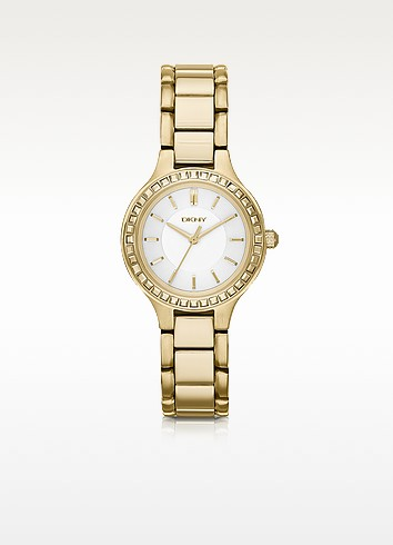 Chambers Gold-Tone Watch with Glitz - DKNY