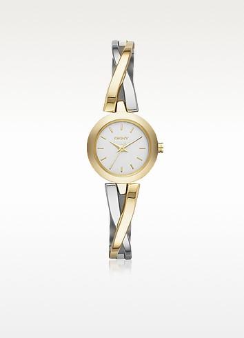 Crosswalk Round Dial Two Tone Stainless Steel Women's Watch - DKNY