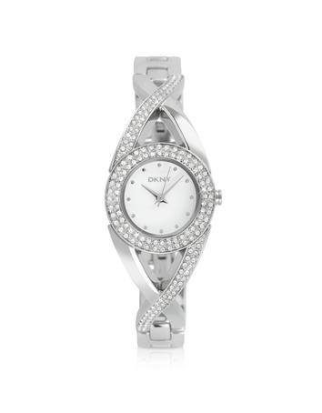 DKNY Runde Armbanduhr aus Edelstahl