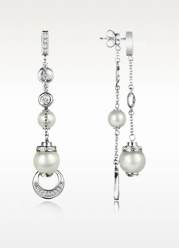 Crystal and Glass Pearl Drop Earrings - DKNY