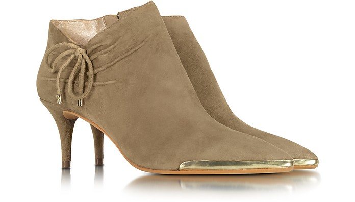 Taupe Suede Mid-Heel Bootie - DKNY