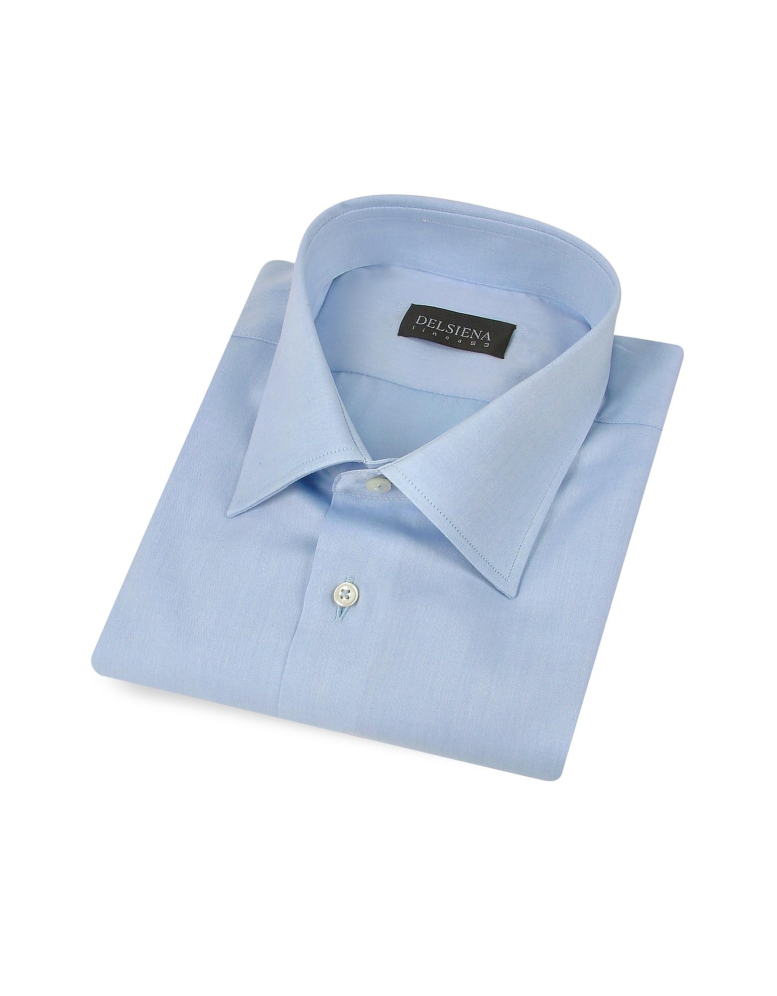 Итальянская Голубая Облегающая Сорочка из Твилового Хлопка, Изготовленная Вручную