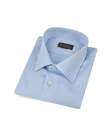 Handmade Light Blue Twill Cotton Italian Slim Dress Shirt - Del Siena