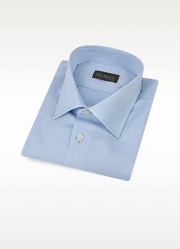 Handmade Light Blue Twill Cotton Italian Slim Dress Shirt - Del Siena