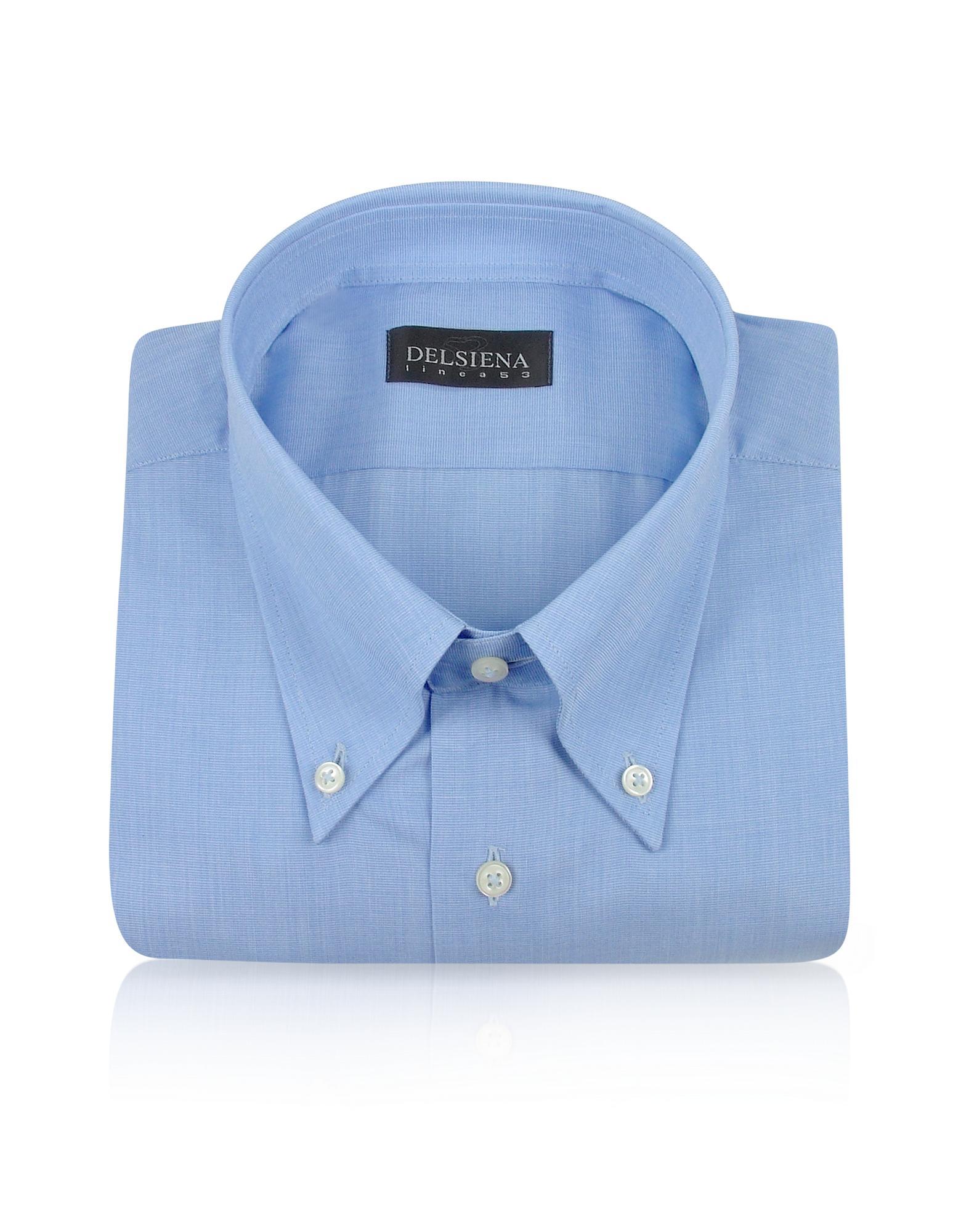 Del Siena Handgenähtes Baumwollhemd mit Button-Down-Kragen in blau