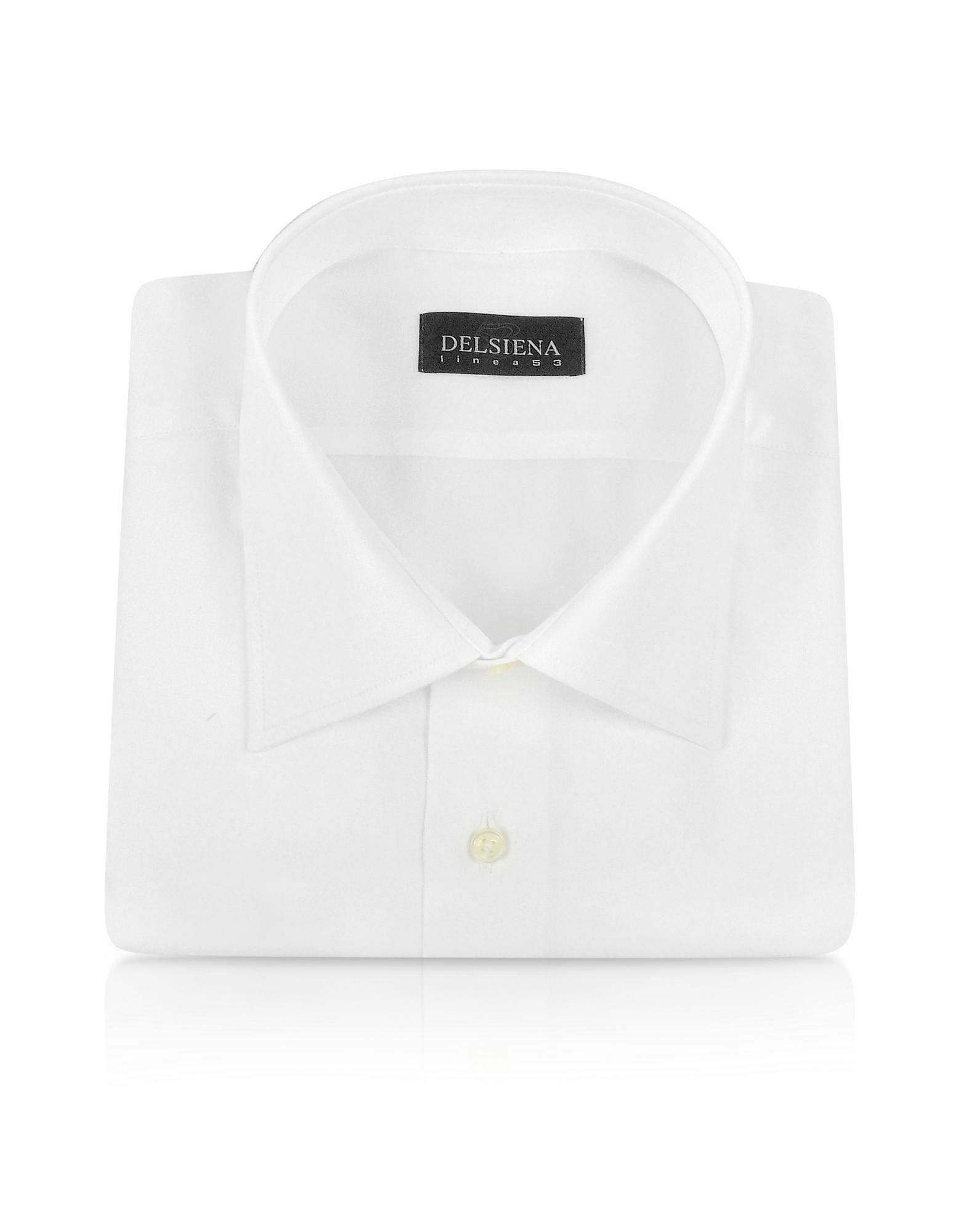 Del Siena Handgefertigtes Baumwollhemd in schlicht weiß