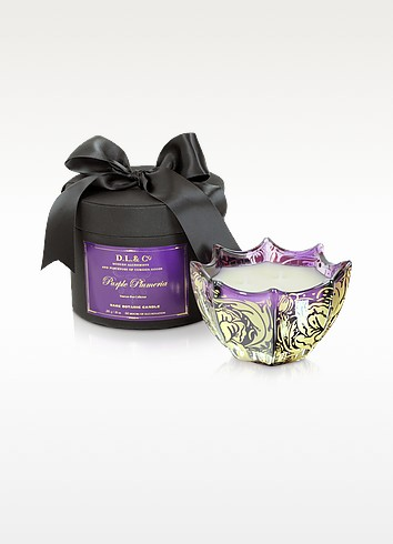 Purple Plumeria Venetian Rose Print Candle - DL & Co
