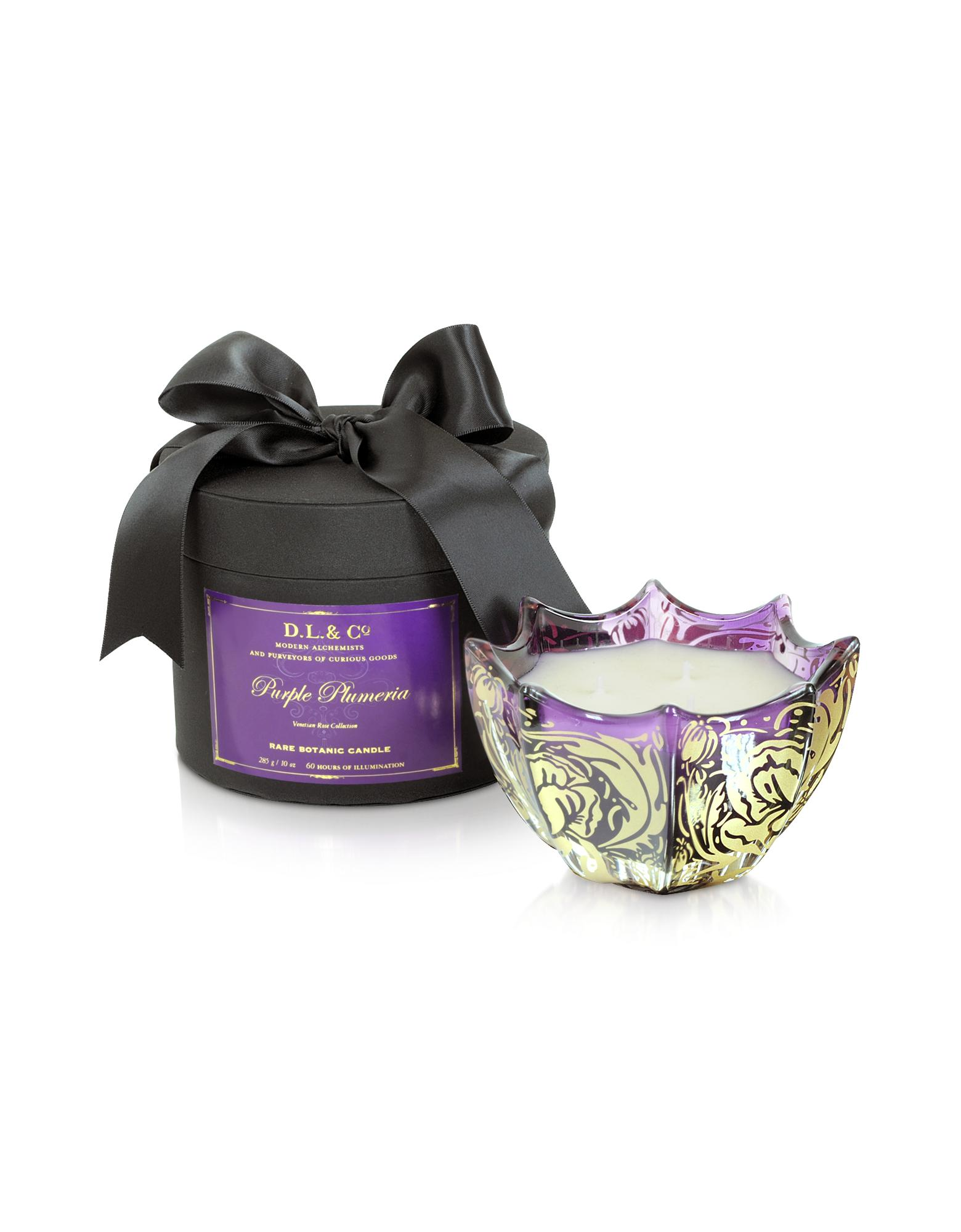 DL & Co Purple Plumeria Venetian Rose Print Candle | FORZIERI