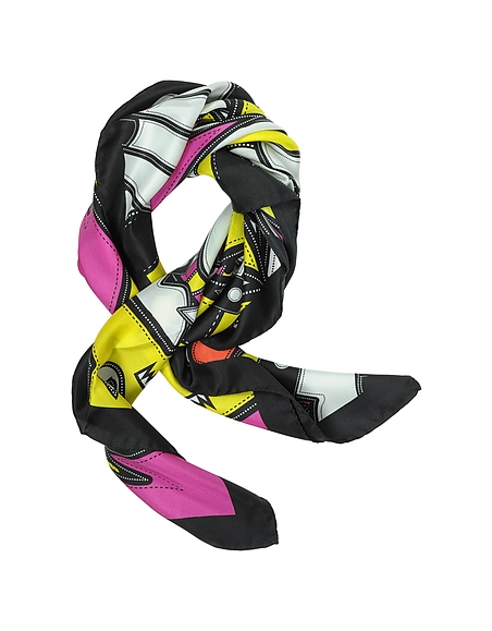 Foto DSquared2 Punk Patch Foulard in Seta Stampato