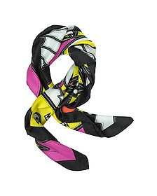 Punk Patch Print Twill Silk Square Scarf - DSquared