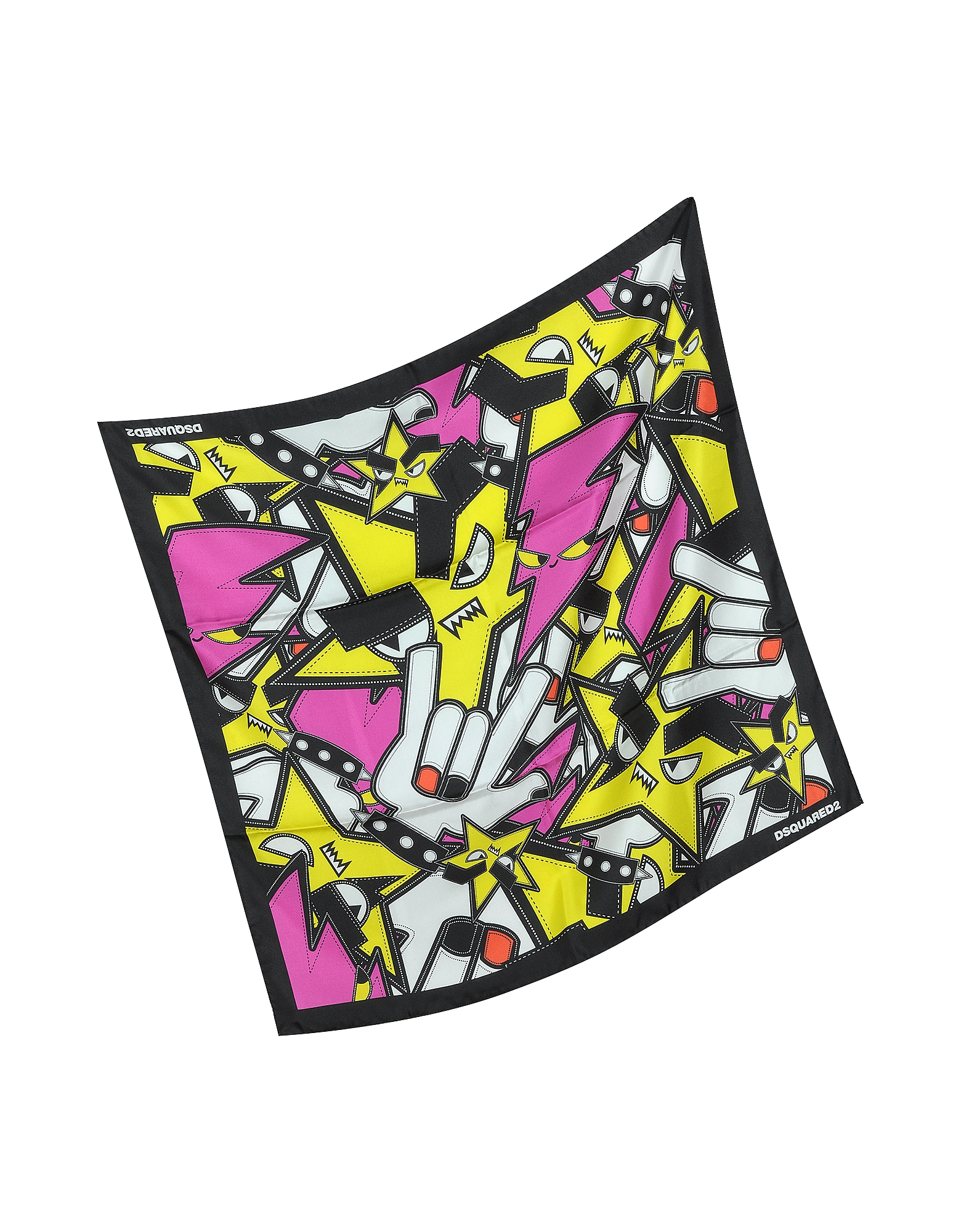 Punk Patch Print Twill Silk Square Scarf от Forzieri.com INT