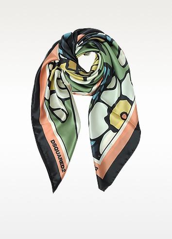 Blossom Print Silk Square Scarf - DSquared2