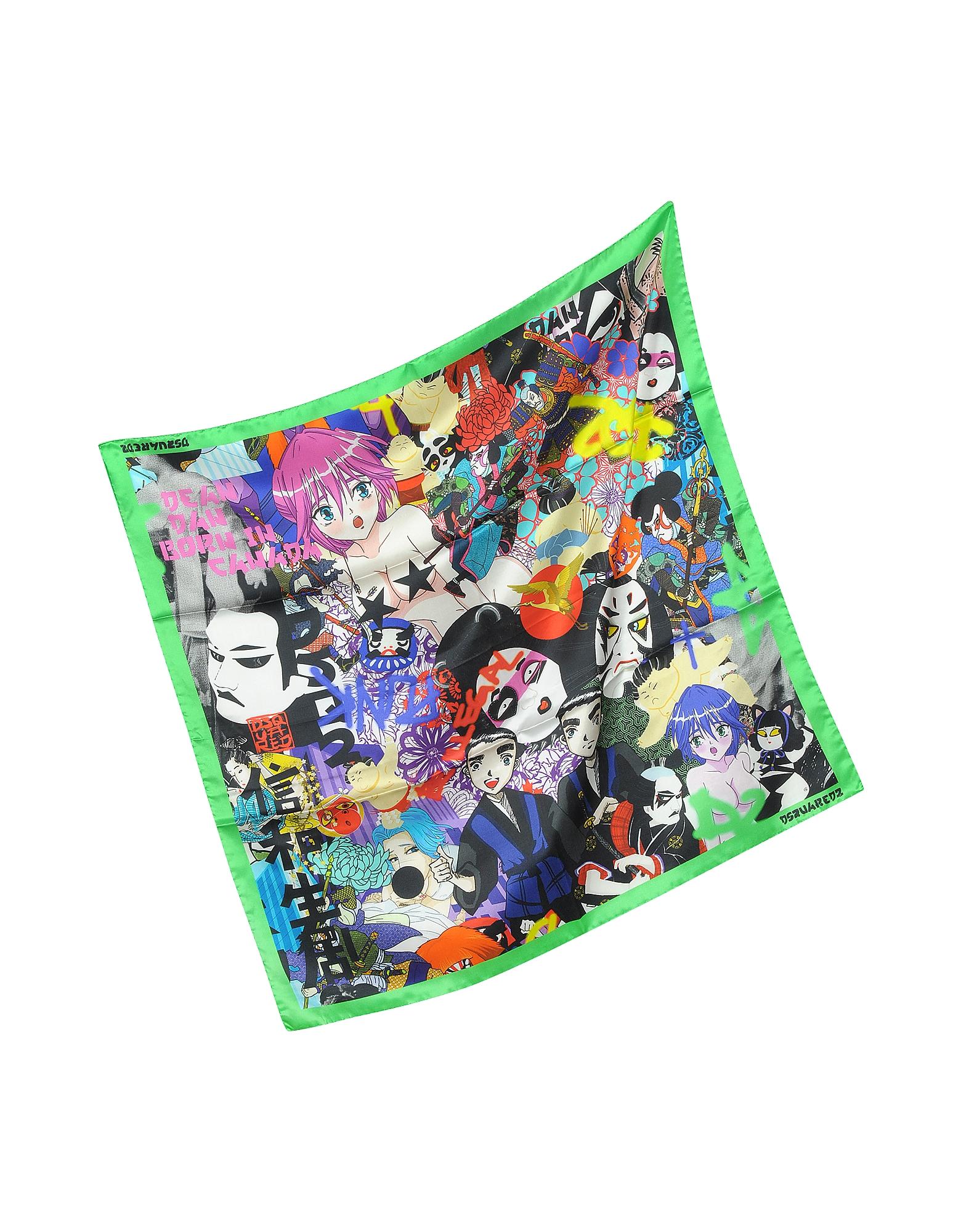 Manga Print Silk Square Scarf от Forzieri.com INT