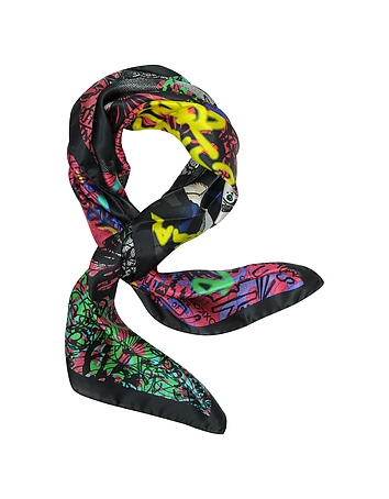 DSquared2 - Manga Punk Print Silk Square Scarf