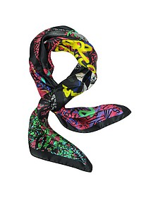 Manga Punk Print Silk Square Scarf - DSquared2