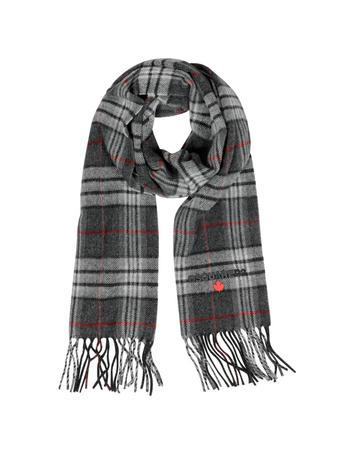 Lux-ID 317783 Dark Gray and Red Plaid Wool Men's Scarf