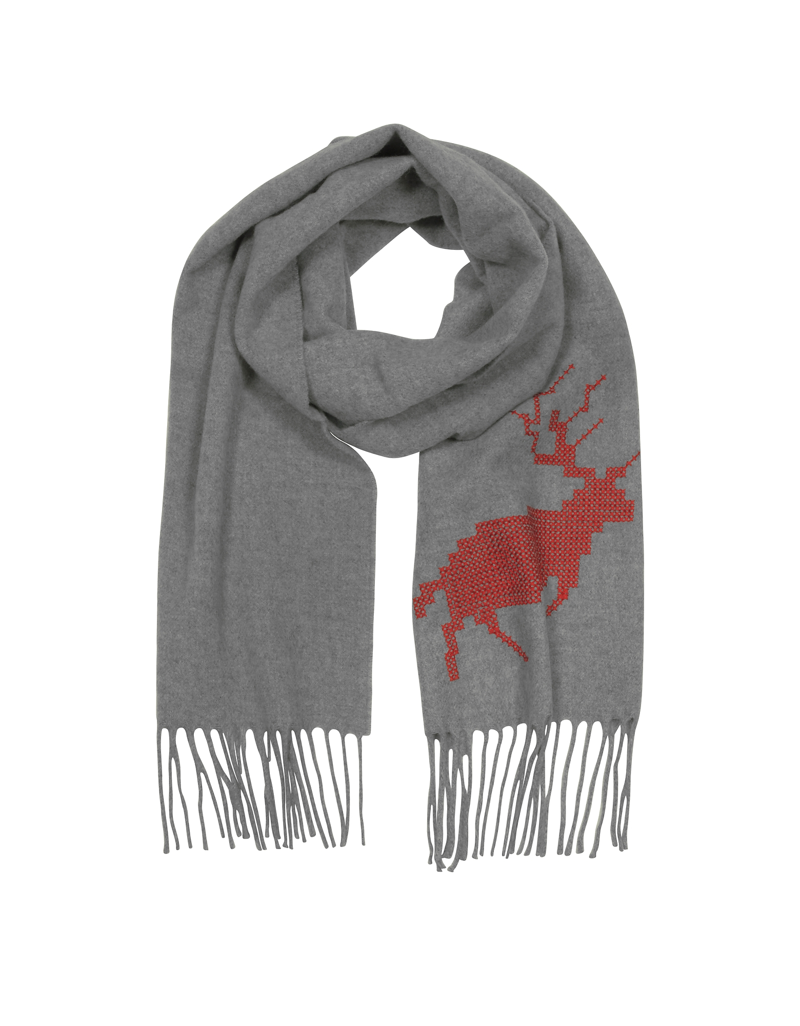 Canada Hiking Gray Wool and Cashmere Men's Long Scarf w/Fringes от Forzieri.com INT