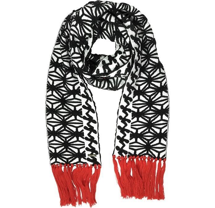 Black & White Knit Long Scarf w/Red Fringe - DSquared2