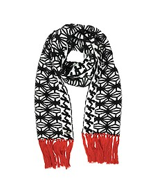 Black & White Knit Long Scarf w/Red Fringe - DSquared2