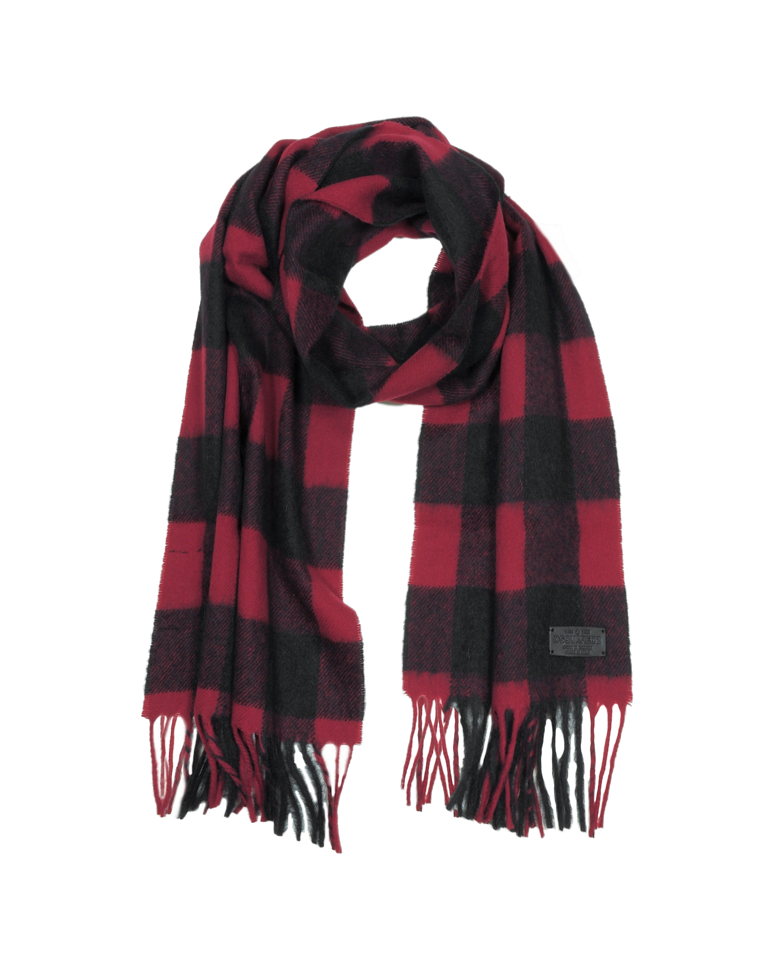 DSquared2 Men's Scarves, Black and Burgundy Checked Wool Blend Men's Scarf w/Fringes