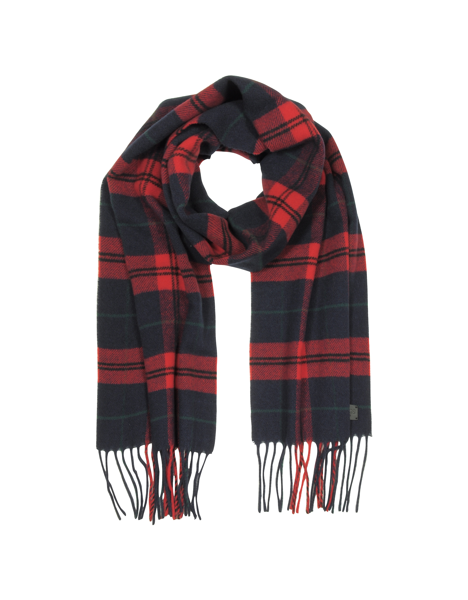 DSquared2 Men's Scarves, Red/Navy Blue Checked Wool and Cashmere Men's Scarf w/Fringes