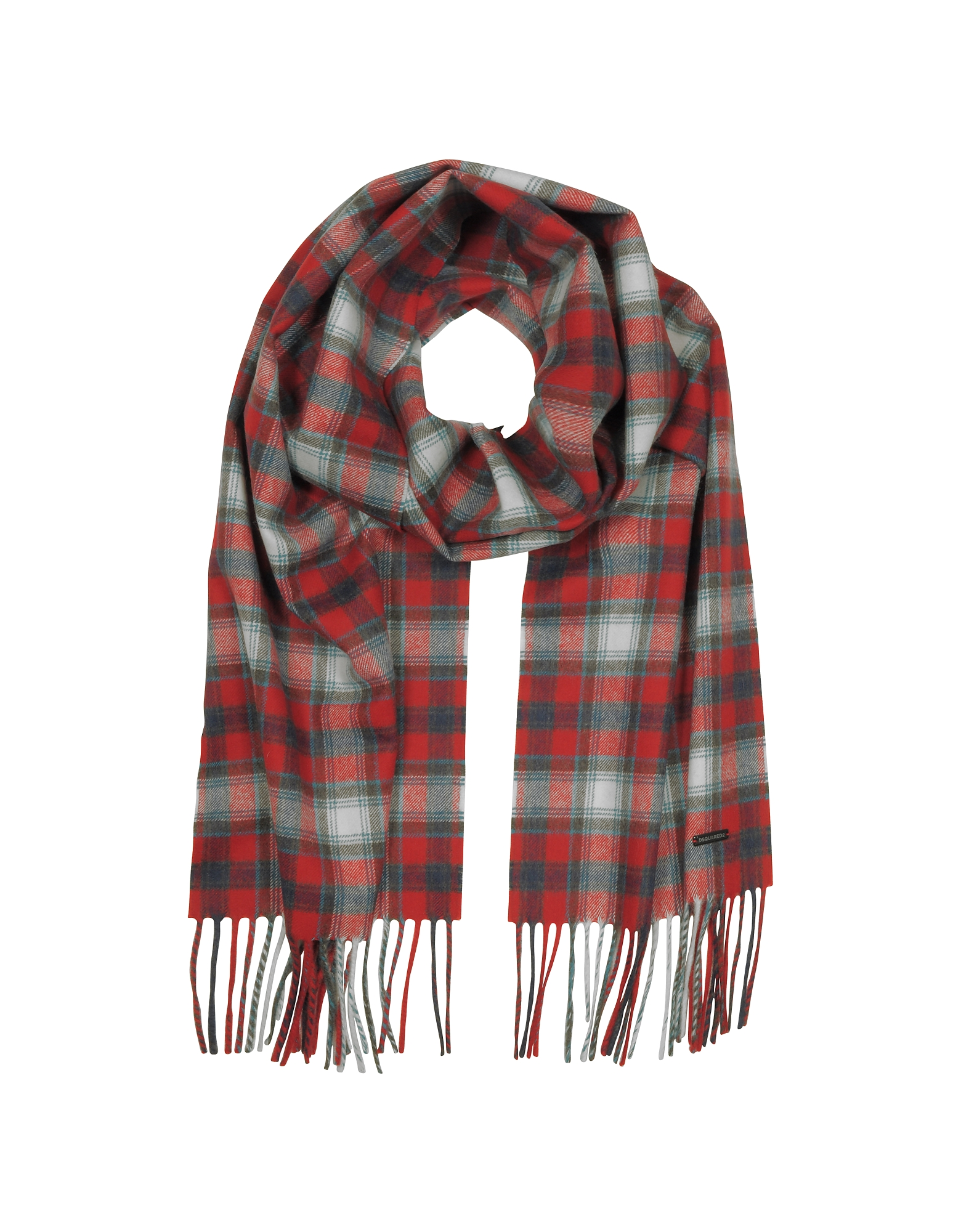 DSquared2 Men's Scarves, Red Checked Wool Blend Men's Scarf w/Fringes