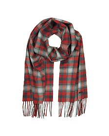 Red Checked Wool Blend Men's Scarf w/Fringes - DSquared2
