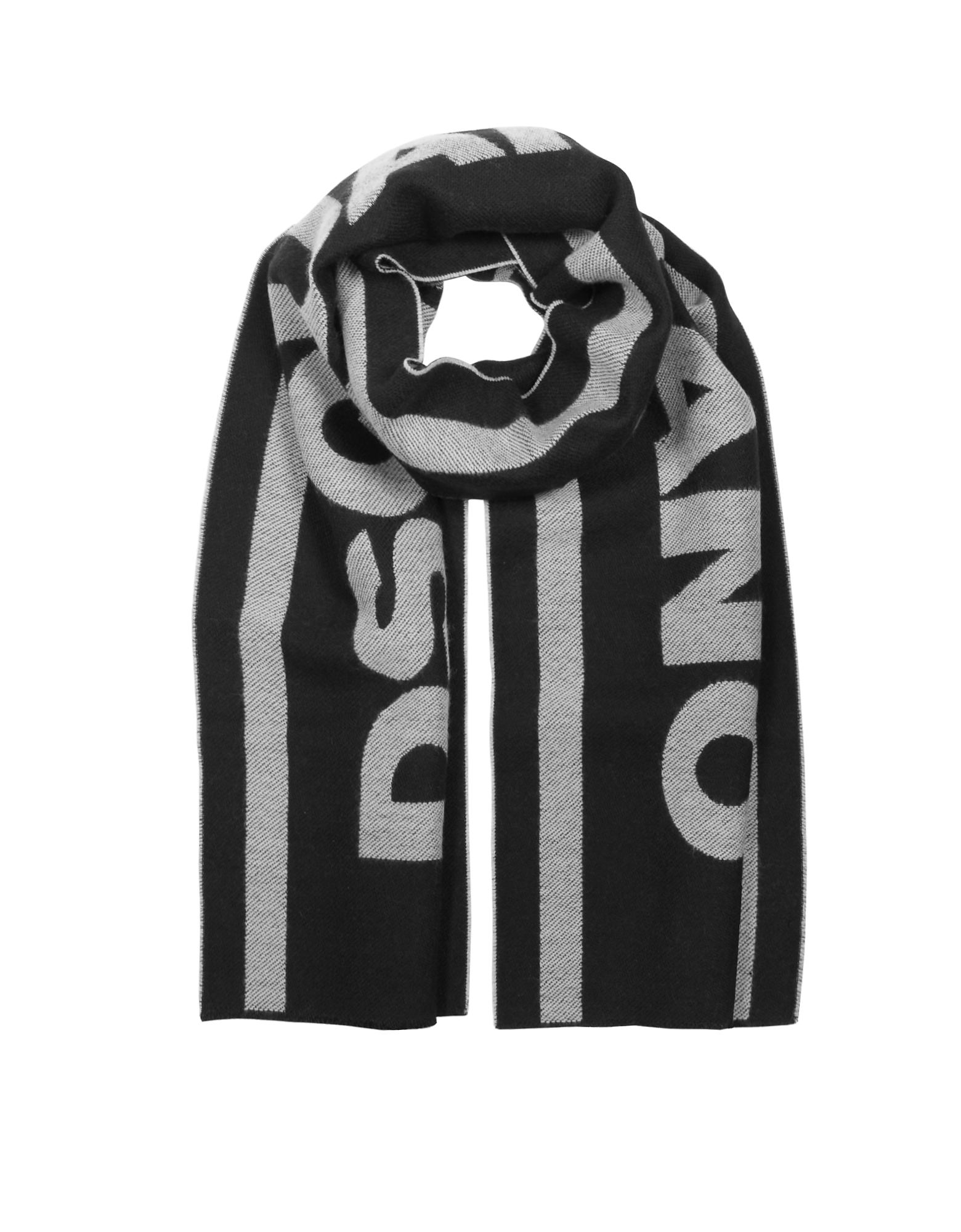 Signature Black and White Wool Blend Scarf