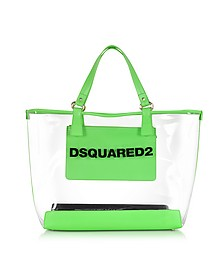 Mykonos Transparent PVC and Green Tote - DSquared2