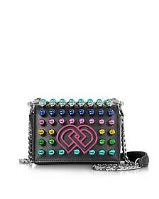 DD Black Leather Mini Shoulder Bag w/Multicolor Studs - DSquared2