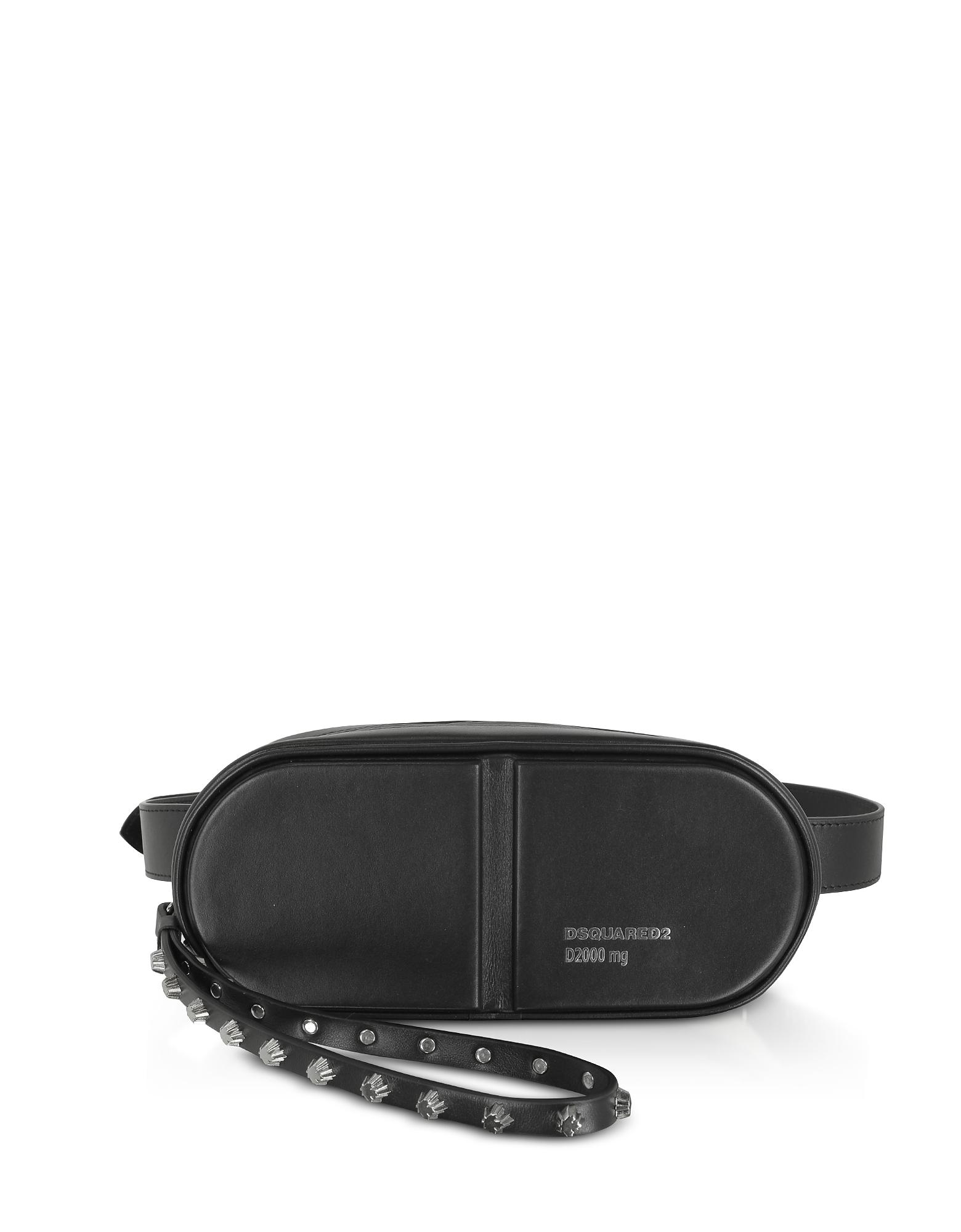 DSquared2 Designer Handbags, Black Studded Calf Leather Pills Belt Bag