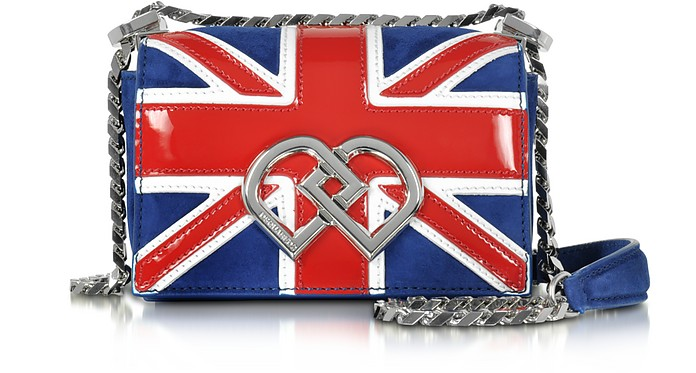 DD British Flag Suede & Patent Leather Mini Shoulder Bag - DSquared2