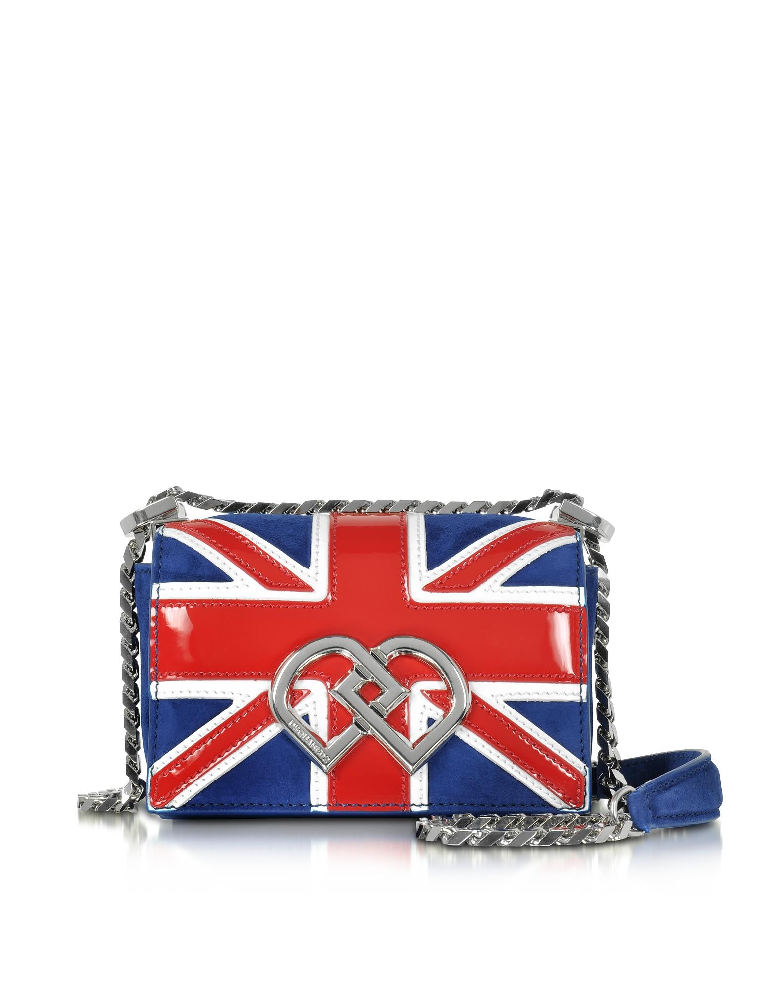 Фото DD - Маленькая Сумка на Плечо Британский Флаг из Замши и Лакированной Кожи. Купить с доставкой
