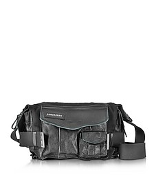 Medium Black Canvas and Leather Military Shoulder Bag - DSquared2