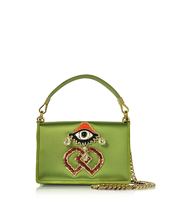 DSquared2 - Green Satin and Suede Shoulder Bag