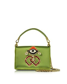 Green Satin and Suede Shoulder Bag  - DSquared2