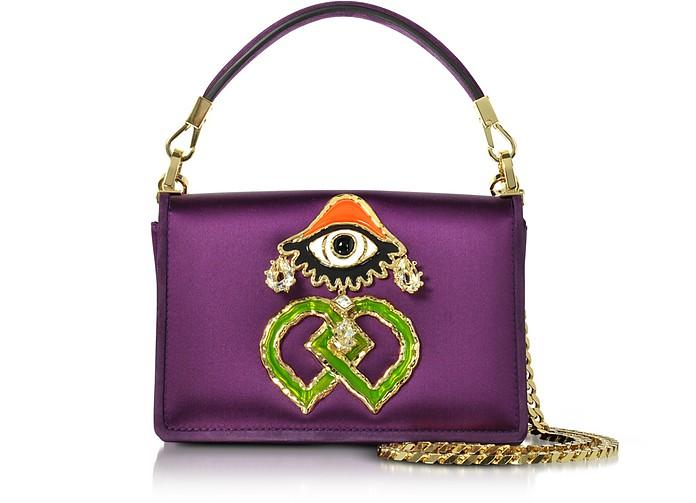 Purple Satin and Suede Shoulder Bag - DSquared2