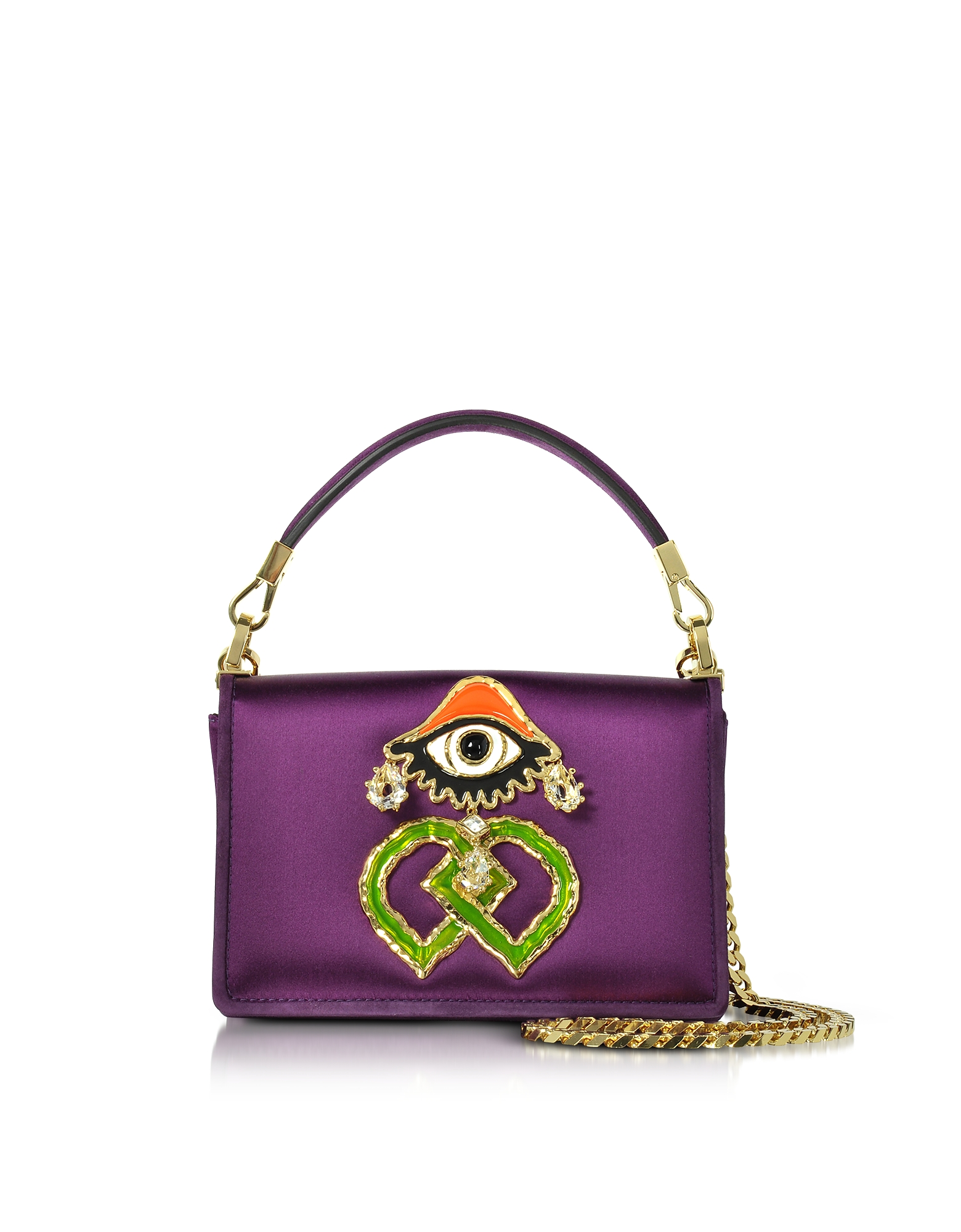 DSquared2 Handbags, Purple Satin and Suede Shoulder Bag