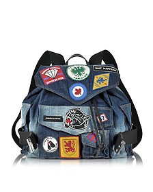 Blue Washed Denim Backpack w/Patches - DSquared2
