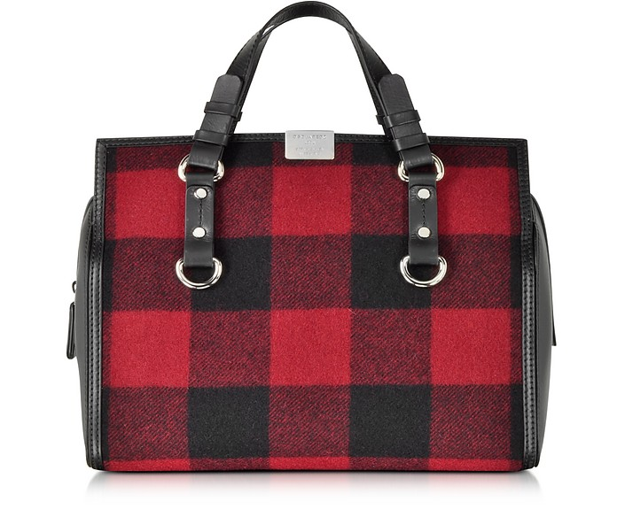 Quebec Black and Red Plaid Handbag - DSquared