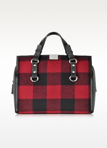 Quebec Black and Red Plaid Handbag - DSquared2