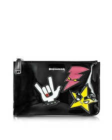 Icon Beauty Large Black Patent Leather Flat Clutch - DSquared2
