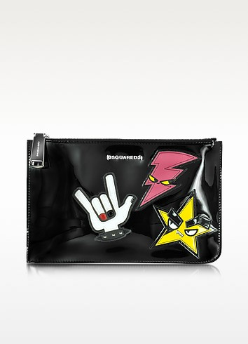 Icon Beauty - Grande Pochette en Cuir Verni Noir avec Patch Punk - DSquared